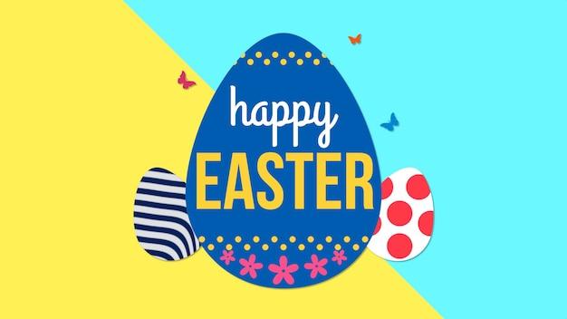 Animowany zbliżenie wesołych świąt tekst i jajko na żółtym i niebieskim tle. luksusowy i elegancki szablon w dynamicznym stylu na wakacje