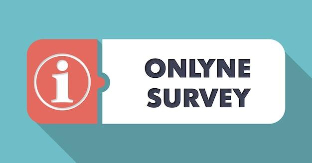 Ankieta online dotycząca niebieskiego w płaskiej konstrukcji z długimi cieniami.