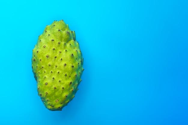 Annona muricata lub graviola. flaszowiec miękkociernisty, cukrowe słodkie jabłko lub mleczne jabłko na niebiesko. widok z góry. egzotyczne tropikalne azjatyckie zielone owoce. guanabana lub guyabano.