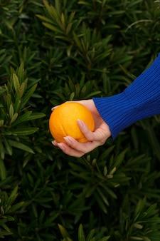 Anonimowa kobieta trzyma świeżej pomarańczy