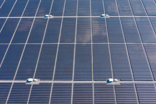 Antena nad widok obszar fabryki ogniw słonecznych w tajlandii