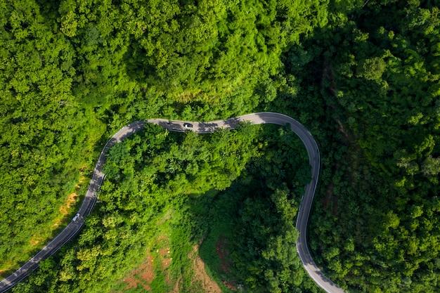 Antena nad widok zieleni halny las w porze deszczowej i wyginająca się droga na wzgórzu łączy wieś
