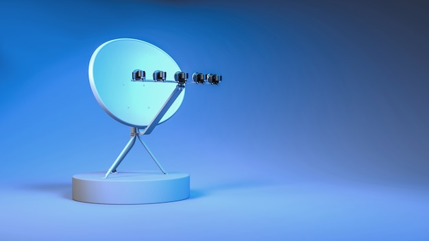 Antena satelitarna z bliska w neonowym niebieskim i fioletowym oświetleniu, ilustracja 3d
