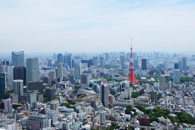 Antena strzelająca piękna linia horyzontu tokio, japonia