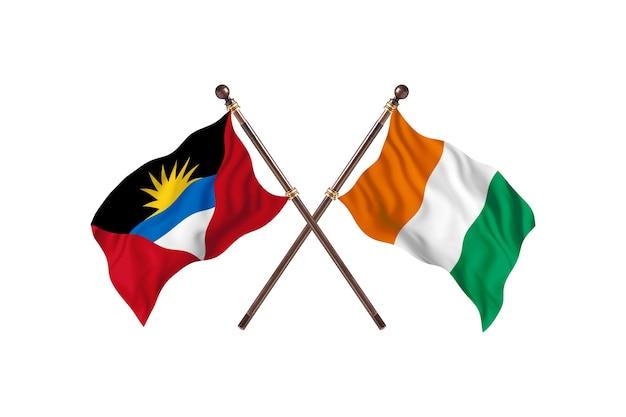 Antigua i barbuda kontra wybrzeże kości słoniowej tło flagi dwóch krajów