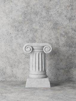 Antyczna kolumna na betonowej ścianie