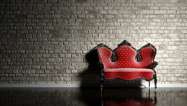Antyczna sofa na tle ceglanego muru, ilustracji 3d