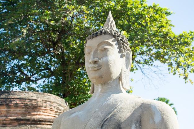 Antyczne buddha statuy wokoło dużej pagody wat yai chaimongkol, ayutthaya, tajlandia