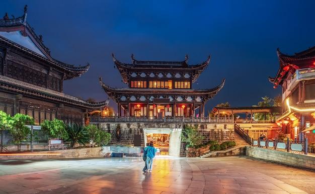 Antyczne miasto huizhou nocą