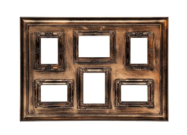 Antyczne ramki na zdjęcia z sześcioma oknami wewnątrz na białym tle
