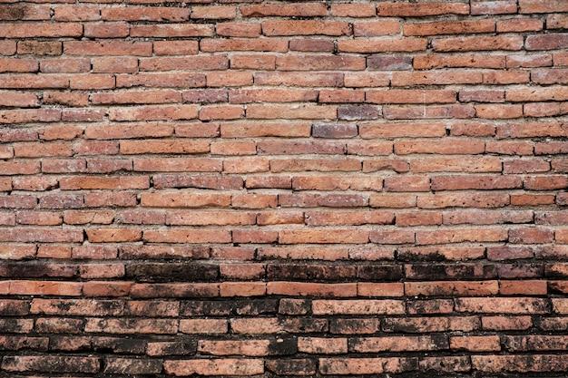 Antyczny brązowy mur z czerwonej cegły. tekstura tło grunge.