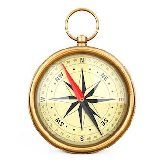 Antyczny vintage mosiądz kompas na białym tle. renderowanie 3d