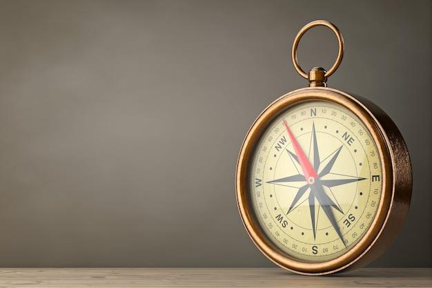 Antyczny vintage mosiądz kompas na drewnianym stole. renderowanie 3d