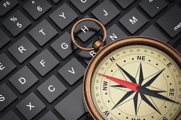 Antyczny vintage mosiądz kompas na klawiaturze laptopa ekstremalne zbliżenie. renderowanie 3d
