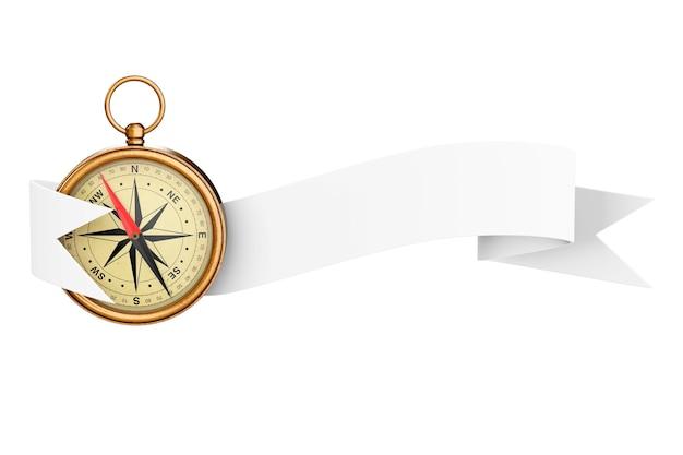 Antyczny vintage mosiądz kompas z wstążką transparent na białym tle. renderowanie 3d.