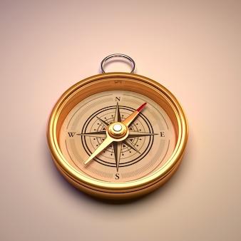 Antyczny złoty kompas na białym tle ..