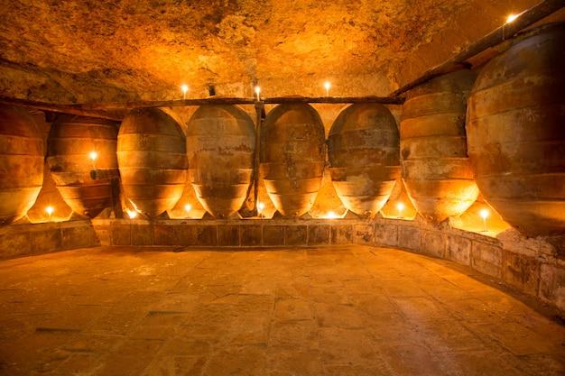 Antykwarska wytwórnia win w hiszpania z glinianymi amforami puszkuje