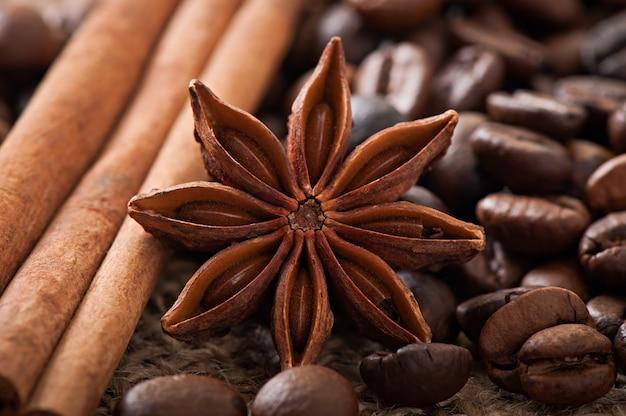 Anyż, cynamon i kawowe fasole na starym drewnianym tle