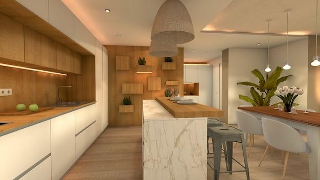 Apartament z kuchnią z barem
