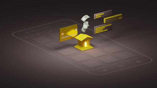 Aplikacja banku renderowania 3d na smartfonie. ilustrator 3d.