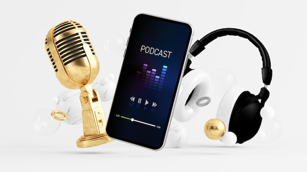 Aplikacja do podcastów na telefon otoczona mikrofonem i słuchawkami renderowania 3d