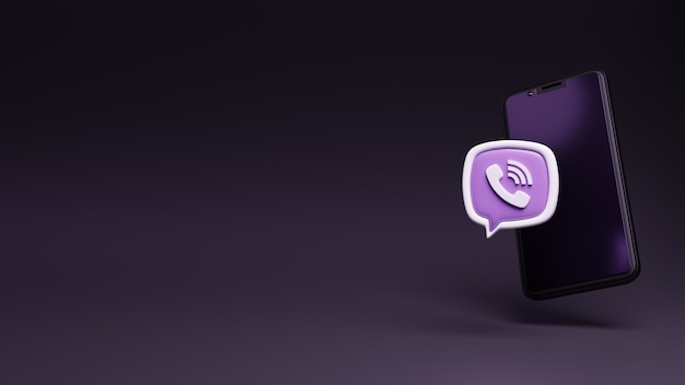 Aplikacja logo 3d viber z wyświetlaczem smartfona, pływającym telefonem komórkowym z logo mediów społecznościowych