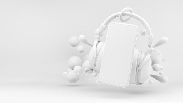 Aplikacja mobilna koncepcja muzyki lub podcastu w renderowaniu 3d