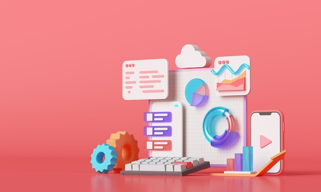 Aplikacja mobilna, oprogramowanie i tworzenie stron internetowych z kształtami 3d, wykresem słupkowym, infografiką. renderowanie 3d