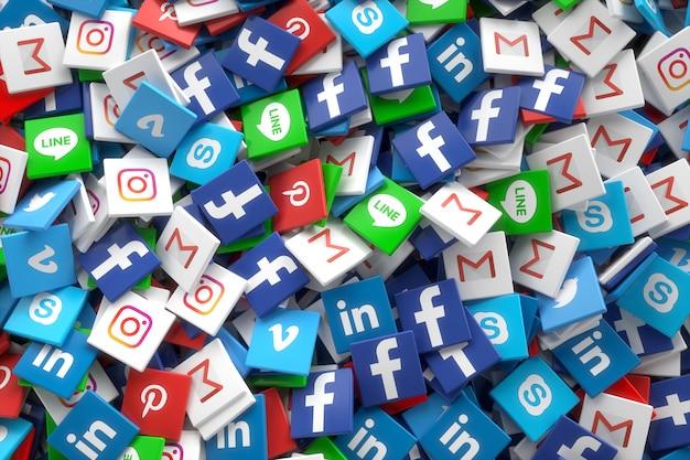 Aplikacja sieci społecznościowych losowe ikony 3d