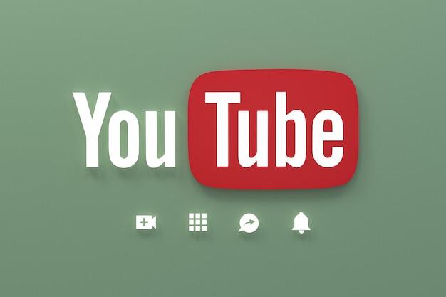 Aplikacja youtube 3d ikony mediów społecznościowych logo renderowania 3d