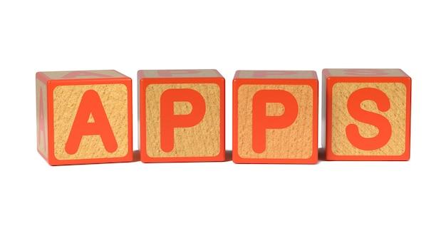 Aplikacje na blok kolorowy alfabet dla dzieci drewniane na białym tle.