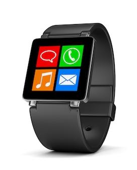 Aplikacje smartwatch na białym tle