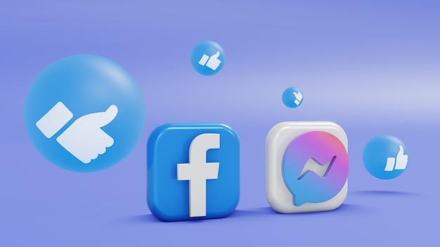 Aplikacje z logo facebook i massenger minimalistyczne