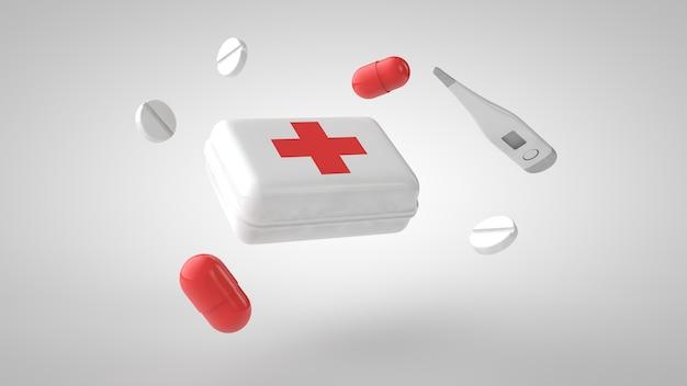 Apteczka pierwszej pomocy 3d widok z góry