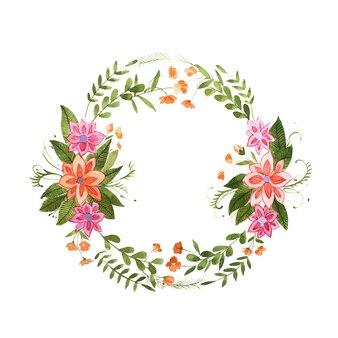 Aquarelle obraz wieniec kwiatowy wykonany z dzikich kwiatów na białym tle