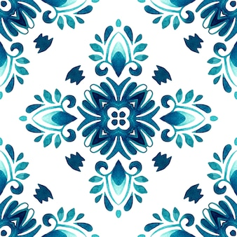 Arabeska ręcznie rysowane dachówka bezszwowe ozdobne farby akwarelowe wzór.