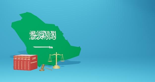 Arabskie prawo dotyczące infografik, treści w mediach społecznościowych w renderowaniu 3d
