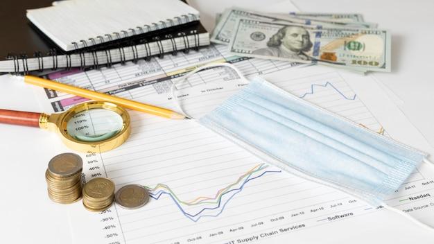Aranżacja elementów ekonomicznych z maską medyczną