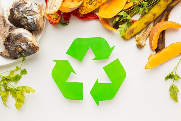 Aranżacja gotowana ryba i resztki recyklingu symbol