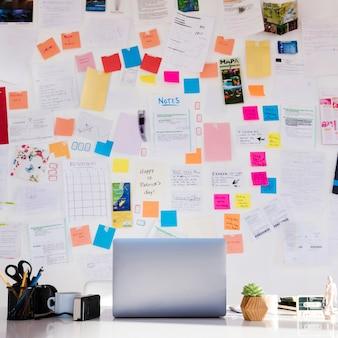 Aranżacja z biurkiem i notatkami na ścianie