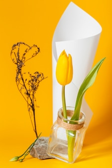 Aranżacja z tulipanem w wazonie z papierowym stożkiem