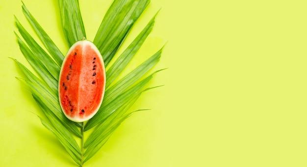 Arbuz na zielonych liściach na zielonej powierzchni