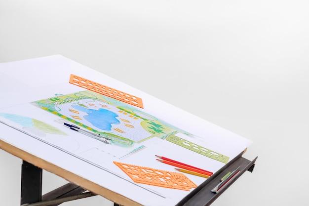 Architekt krajobrazu projekt planu basenu przydomowego dla ośrodka