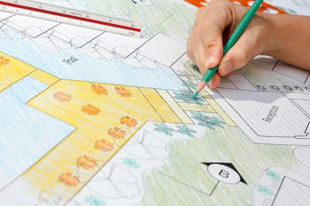 Architekt krajobrazu projekt planu ośrodka hotelowego