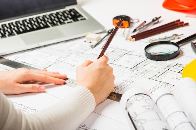 Architekt, rysunek, projekt, ołówek