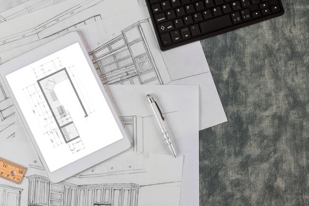 Architektoniczny projekt kuchni tworzy plan zgodnie z niestandardowym rysunkiem projektu kuchni
