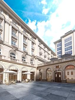 Architektura dziedzińca jest w stylu klasycznym, elewacja budynku w stylu klasycznym. renderowanie 3d