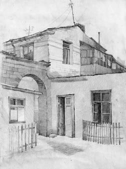 Architektura rysunek ołówkiem ilustracja szkic