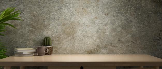 Archiwalne miejsce na stół z drewna ze światłem z lampy w tle ściany betonowej renderowania 3d