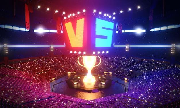 Arena sportowa w scenerii glow, ilustracja renderowania 3d.